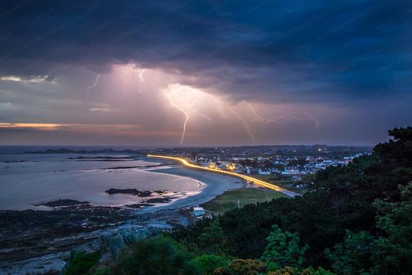 Lightning over Cobo Bay